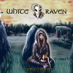 white raven in the forest